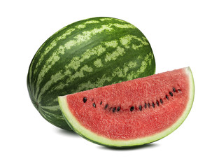 Whole watermelon and big slice isolated on white background