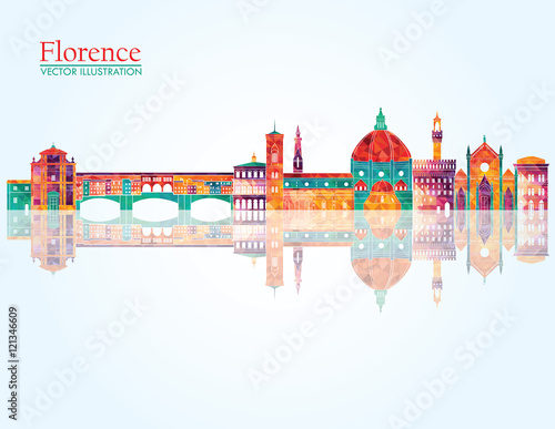 Florence skyline silhouette. Vector illustration