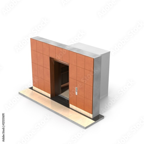 Modern elevator with opened doors, 3D illustration - Buy this stock