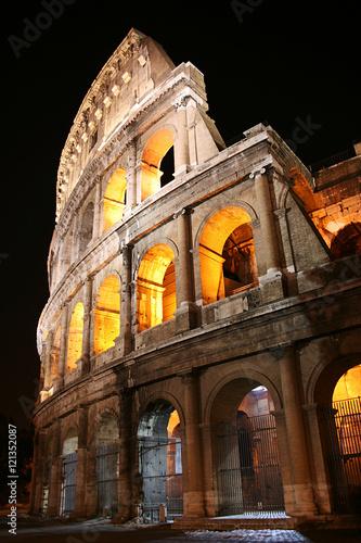 Valokuva  Ancient Colosseum at night, Rome, Italy