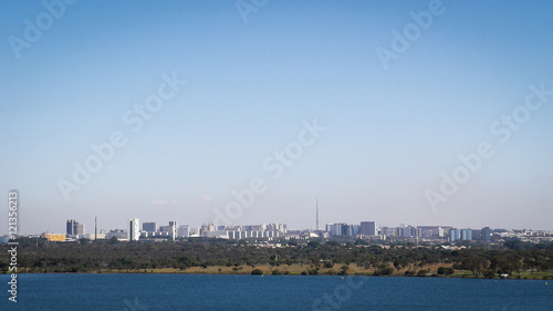 Brasilia city skyline, Brazil. A view of the modern Brazilian capital city of Brasilia under clear sky copy space.