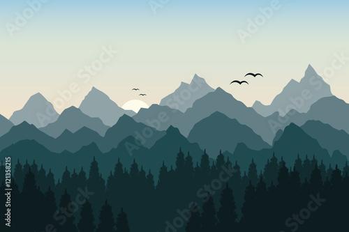 Fototapeta Vector illustration of sunrise in the mountains obraz na płótnie