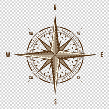 Vector Compass. High Quality Illustration. Old Style. West, East, North, South. Wind Rose Simple  Isolated