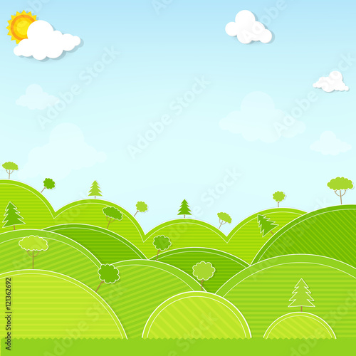Tuinposter Lime groen landscape hill and tree illustration vector