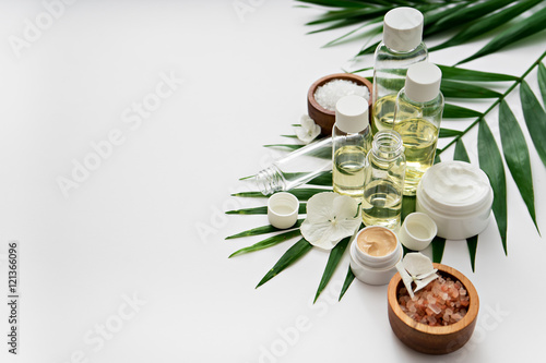 aromatherapy theme , handmade cosmetic. space for text Wallpaper Mural