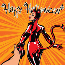 Happy Halloween Devil Girl Fol...