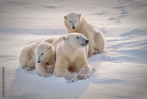 Tela  Polar bear with her cubs, oil painting