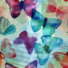 Seamless Pattern With Abstract Watercolor Butterflies On Old Eph
