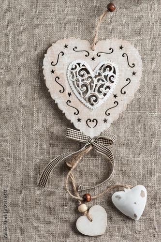 Foto-Lamellen (Lamellen ohne Schiene) - Linen background with xmas hearts (von Irina Bort)