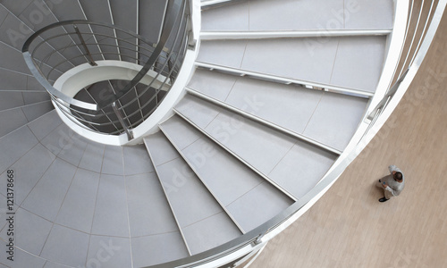 Fototapety, obrazy: Spiral stair with man