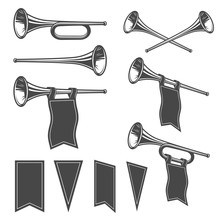 Set Of Mobochrome Fanfares With Flags. Perfect For Logo, Emblem, Badge And Label