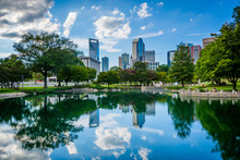 The Skyline Of Uptown Charlotte, And Lake At Marshall Park, In U