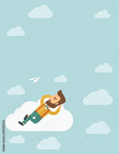 Photo  Beard man lying on a cloud