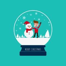 Merry Christmas Snow Globe With A Boy And Snowman. Cartoon Vector Illustration.