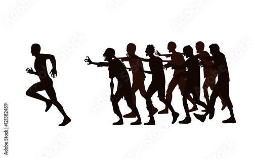 Poster Militaire Silhouette vector runner run away from zombie group isolated on white background.