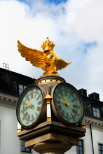 Clock On The Central Train Station Of Stockholm, Sweden