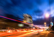 Blurred view of night street traffic with tracers