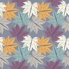 FototapetaStylish seamless pattern with maple leaves