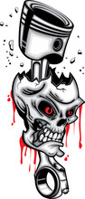 Skull Head Piston Wrecked Red ...