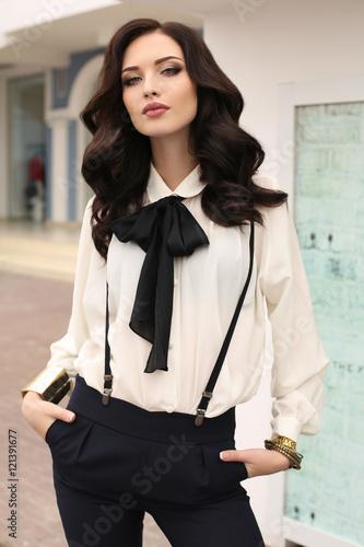 gorgeous sensual woman with dark hair in elegant clothes Canvas Print