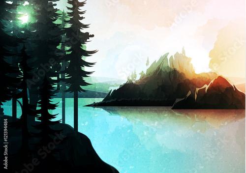 Krajobraz przyrody, lasów górskich i jeziora, akwarela stylu. Wektor natury wzgórza, drzewo w rzekach. Lato zielone tło. Plakat podróży. Park Narodowy. Wschód słońca malownicze widoki natury