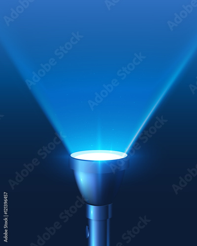 Obraz Blue shining flashlight triangular light vector background - fototapety do salonu
