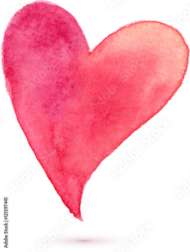 Fotografie, Obraz  Watercolor painted heart, vector element for your design