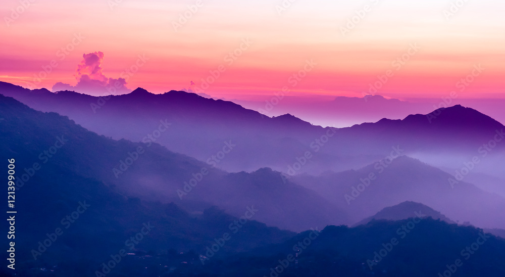 Fototapety, obrazy: purple sunset in the mountains