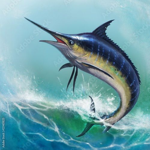Blue marlin in the ocean Wallpaper Mural