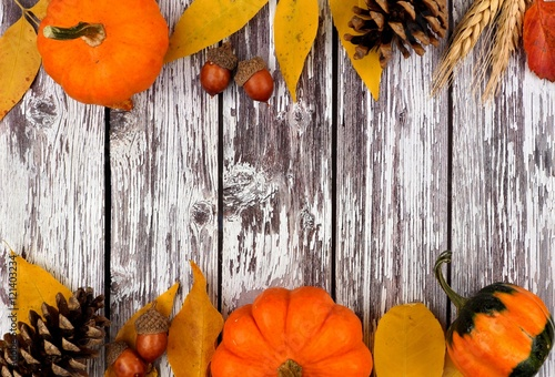 Autumn Double Border Of Pumpkins Leaves And Gourds Against A Rustic Old White Wood Background