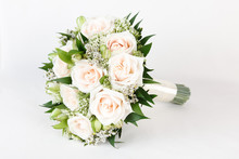 Ivory And Green Wedding Bouquet Of Roses And Alstroemeria Flowers