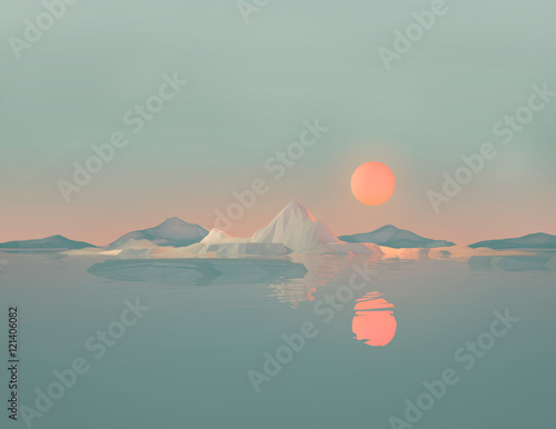 Staande foto Bleke violet Geometric Mountain Landscape with Sun Reflecting on Water