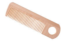Light Wooden Comb Isolated On White Background