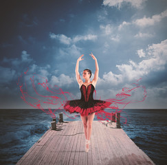 Fototapeta Taniec / Balet Dancer on a floating dock