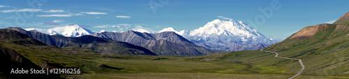 Recess Fitting Blue Panorama of Mt Denali, Denali National Park, Alaska