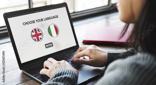 Fotografie, Obraz  Language Dictionary English Italian Concept