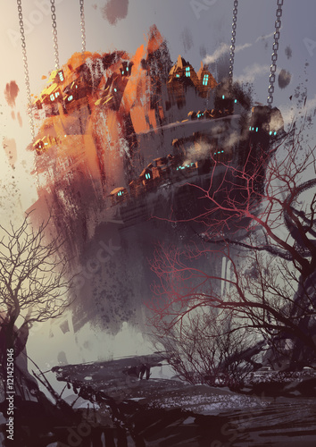 malarstwo koncepcji science fiction z wiszącą wioską, ilustracja