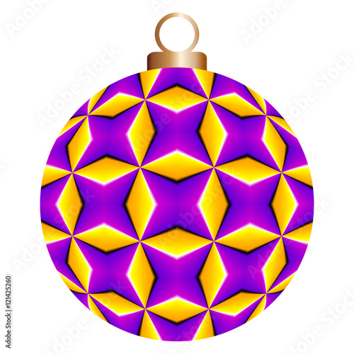 Valokuva  Lilac christmas ball with yellow rhombuses (motion illusion)