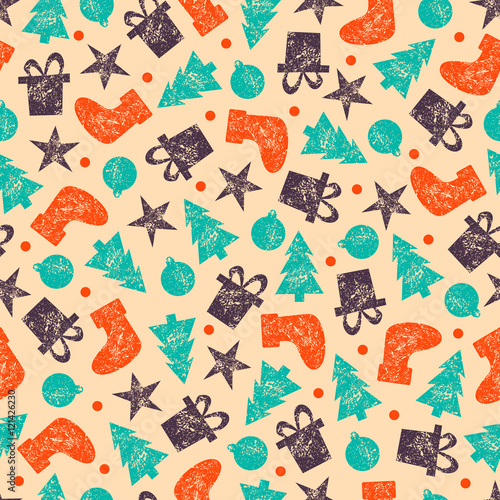Raster Vintage Christmas Seamless Pattern for Christmas Wrapping Paper. Xmas Illustration with Presents, Santa's