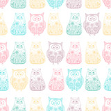 Doodle cats and owls. Vector seamless pattern with hand drawn bird and kitten. Cute childish background. Outline. Color animals on white background. - 121429200