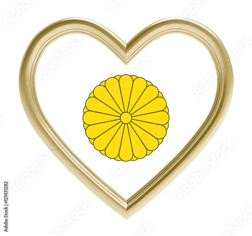Photo  Seal of Japan in golden heart isolated on white background