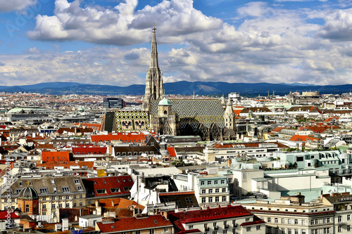 Areal Panorama View City Center Vienna, Stephans Cathedral