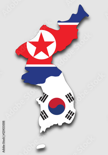 Fotografía  Map of the Korean Peninsula, Filled with the South and the North Korea Flag