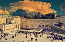 Western Wall In Jerusalem Is A Major Jewish Sacred Place. Image Toned For Inspiration Of Vintage Style
