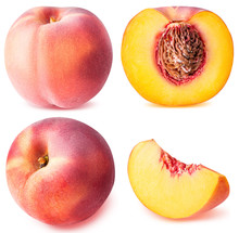 Peach Fruit Sliced Collection Isolated On White Background