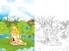 Cartoon Fairy Tale Scene With A Young Little Girl On A Leaf - Illustration For Children