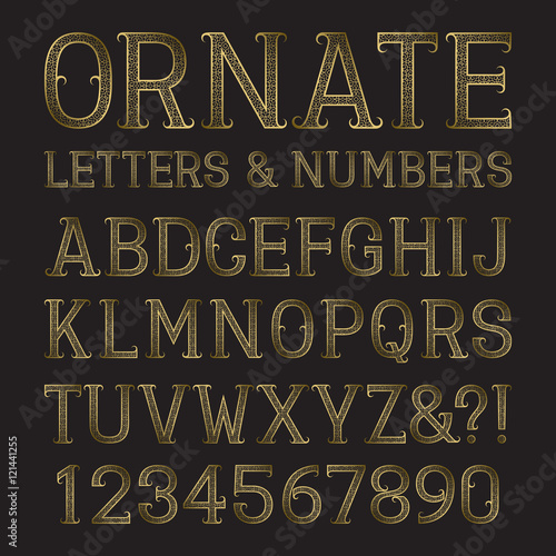 Golden Ornate Capital Letters And Numbers With Tendrils Decorative Patterned Vintage Font Isolated Latin