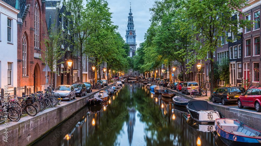 Valokuva  Amsterdam City, Illuminated Building and Canal at night, Netherlands