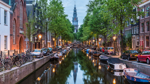 Wall Murals Amsterdam Amsterdam City, Illuminated Building and Canal at night, Netherlands