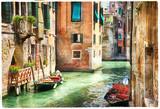 Romantyczne kanały weneckie - grafika w stylu malarskim - 121447885